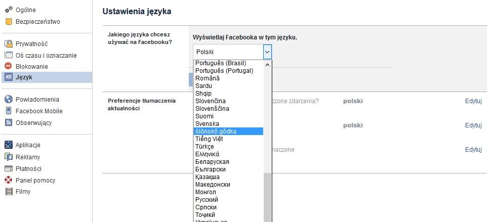 fot.Technologiczna.pl / ustawienia języka na Facebooku