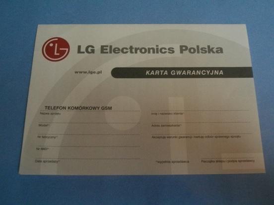 Karta Gwarancyjna LG