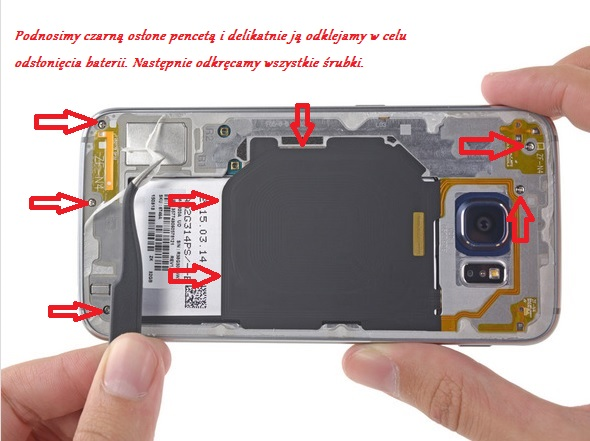 fot.ifixit.com / odkręcanie śrubek oraz podnoszenie osłony baterii