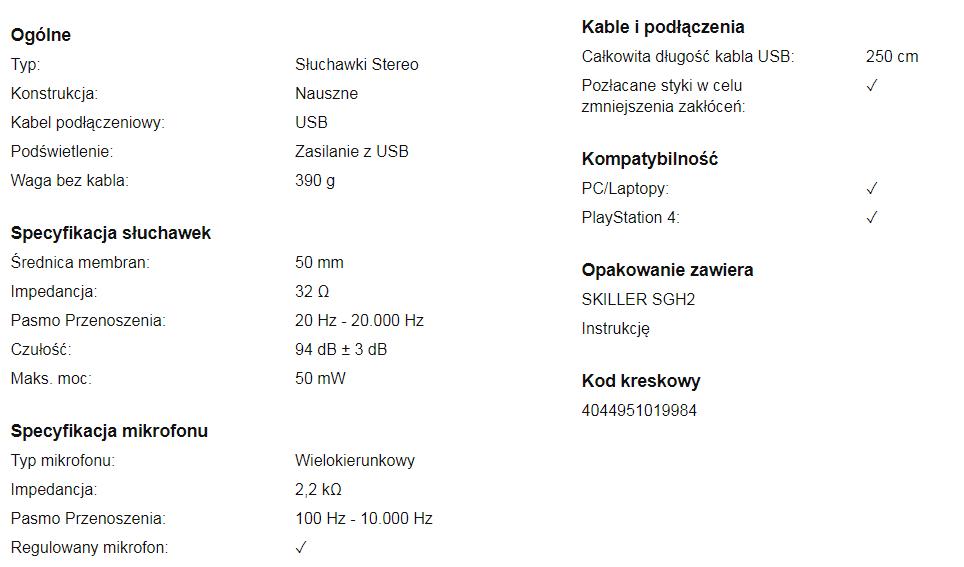 Sharkoon SGH2 tabela